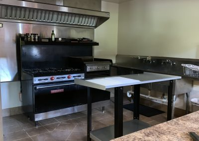 Commercial stove in kitchen